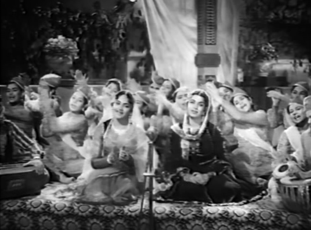 "Ratna (left) and Shyama (right) lead the qawwali ""Yeh Ishq Ishq Hai"