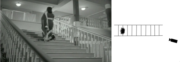 The dolly track at last ends at the base of the staircase, holding the shot after Waheeda leaves the stairs, underscoring the incredible emptiness of the space she inhabits.