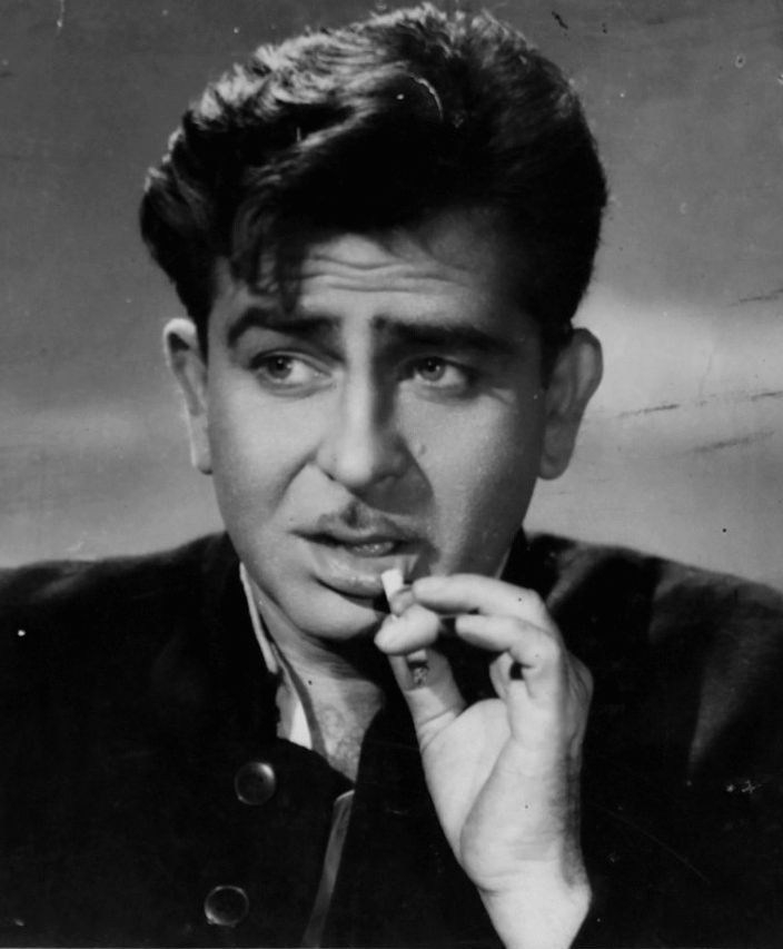 Raj Kapoor in a promotional photograph for Dil Hi To Hai sporting an 'm' mustache.