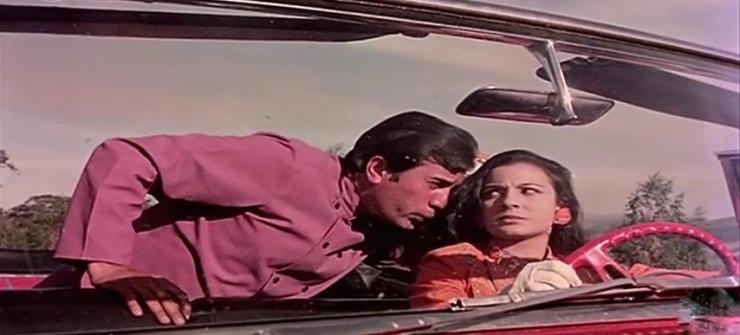Rajesh Khanna whistles in Tanuja's ear in haathi mere saathi.jpg
