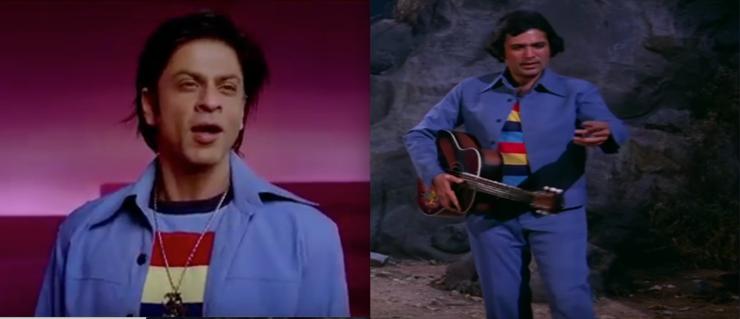 Shah Rukh Khan imitates Rajesh Khanna's unforgettable blue ensemble with a rainbow top in Om Shanti Om (2008).