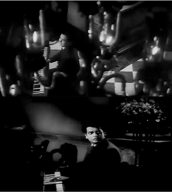 """Kahin Deep Jale"" opens with a beautifully framed overhead shot of Biswajeet playing the piano moodily, literally engulfed by the flames in the chandelier (above). The camera then floats to eye level as he hears the sound of a woman singing in the distance (below)."